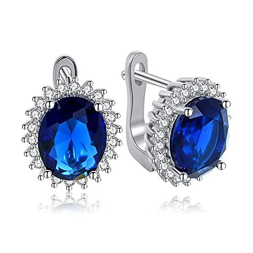 yuge Pendientes sólidos de plata de ley 925, esmeraldas ovaladas, circonita cúbica azul