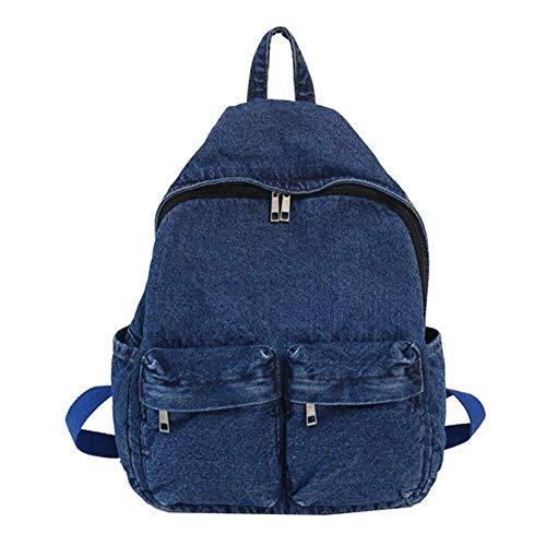Denim Backpack Rucksack Daypack Book Bag Student Laptop Backpack for School College for Teenage,Dark Blue