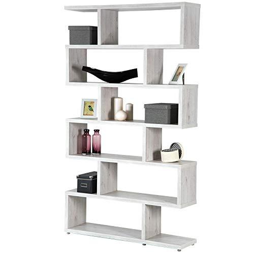 TOPKIT | Estantería Zig Zag Florida 6310 | Medidas 191x110x28cm | Mueble de Salon | Separador de Ambientes | Blanco Mozart