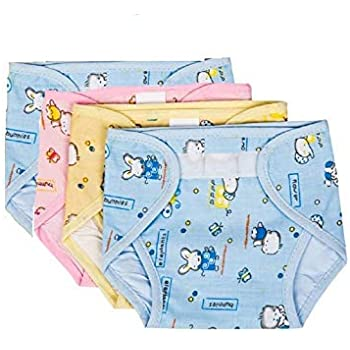 PEUBUD ® Outside Printed Soft Cotton Inside Non-Toxic PVC Plastic Waterproof U Nappy/Diaper/Langot with (Pack of 4) (3-6 Months)