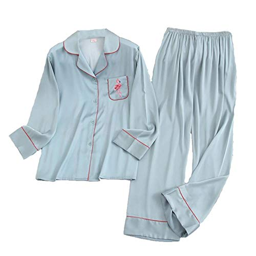 Ropa Interior de Manga Larga Pijamas de Primavera para Mujer Pijamas de Invierno para Mujer Pijamas de Seda Flamingo Pijamas de satén Conjuntos-Water_Blue_Set_M