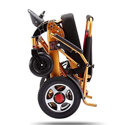 Yeeseu Silla de ruedas eléctrica plegable, silla de ruedas ligera All Terreno Power Scooter Silla de potencia de motor doble 12A Batería de litio 15km Aleación de aluminio para todas las edades Parapl