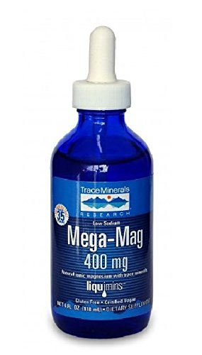 Trace Minerals Research Mega-Mag Liquid Magnesium Drops, 4 ounce, 3 PACK