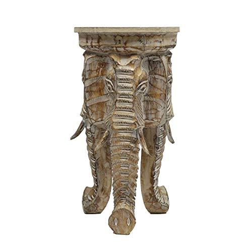 Oriental Galerie Rundhocker Holzhocker Elefanthocker Blumehocker Whitewash Elefant Hocker ca 60cm hoch 32cm Durchmesser Holz Natur