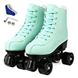 Womens Roller Skates Artificial Leather Adjustable Double Row 4 Wheels Roller Skates Shiny High-Top Outdoor Roller Skate for Teens,Adult (Black Wheel, 38/US 6)