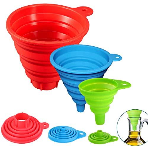 BREEZO Trichtersatz Faltbarer Trichter, 3er Pack Silikon-Trichter für Küche und Haushalt Wasserflaschen Öl Flüssigkeiten und Pulver, Lebensmittelecht, 3 Farben (Rot-G, Blau-M, Grün-K)
