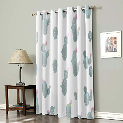 SODIKA Grommet Top Curtains for Living Room Bedroom Window Treatment Curtain Draperies - Cactus 52 x 84 inch,1 Panel
