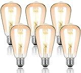 Bombilla vintage Edison E27 ST64,estilo retro, 4 W LED equivalente a 40 W, iluminación 2700 K, 400 lm, blanco cálido, 2500 H, diseño retro para iluminación de ambiente 6 unidades, clase energética A+