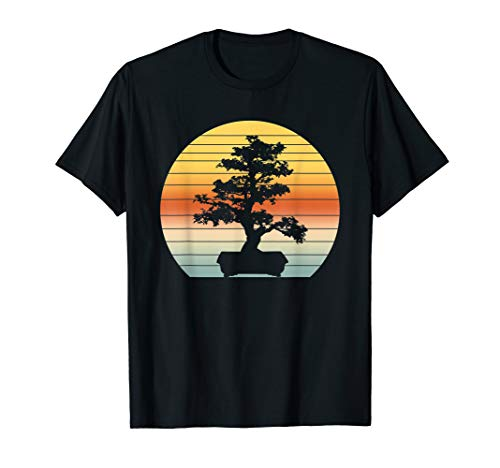 Bonsai Tree Design Vintage Japanese Bonsai Tree Sun T-Shirt T-Shirt