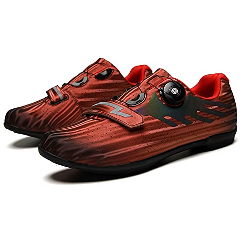 Professional Outdoor Cycling Shoes,MTB Breathable Non-Locking Racing Road Bike Shoes,Men Sneakers,Non-Slip Cycling Bicycle Shoes,Red-44