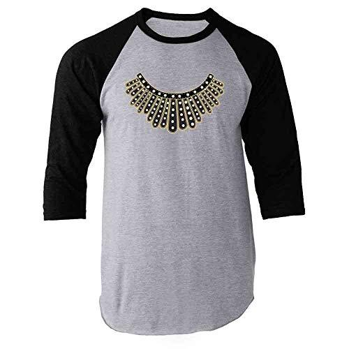 Pop Threads RBG I Dissent Jabot Collar Ruth Bader Ginsburg Black 2XL Raglan Baseball Tee Shirt