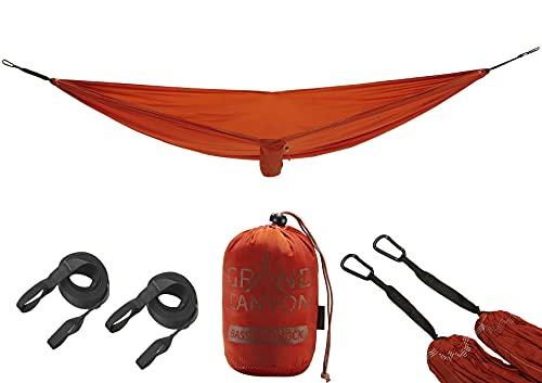 Grand Canyon BASS Hammock - Hängematte Outdoor bis 150 kg, Reisehängematte leicht & kompakt mit Baumschoner - Roiboos Tea (braun)