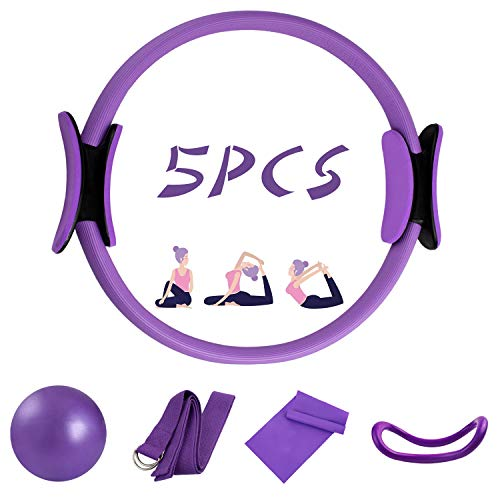 5 Pcs Pilates Ring Set 14 Yoga Fitness Magic Circle Pilates Equipment for Home Workouts Include Ball,Stretching Strap,Extension strap And Training Ring for Fitness kit