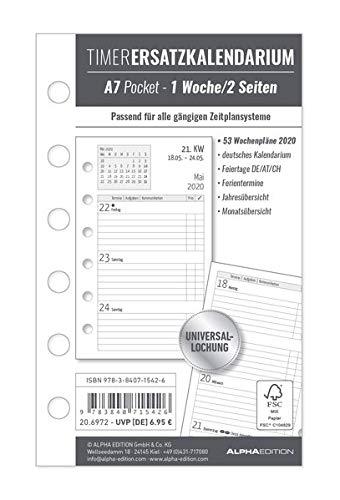 Timer Ersatzkalendarium A7 2020 - Bürokalender - Buchkalender A7 (8 x 13)- Universallochung - 1 Woche 2 Seiten - 128 Seiten