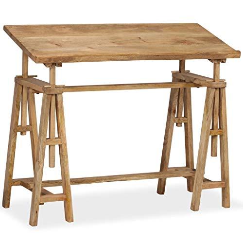 tidyard Mesa de Dibujo para Arte y Diseño o Creación,Mesa de Ordenador,Mesa de Despacho,Superficie Inclinable Altura Ajustable,Estilo Vintage,Madera Maciza de Mango 116x50x76cm