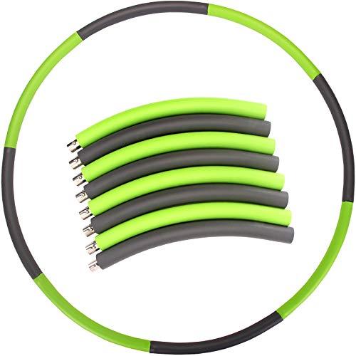 JiaLe Fitness Hula Hoop zur Gewichtsreduktion-Hochwertiger Edelstahl-beschwerter Hula-Hoop-Reifen für Fitness (Grün + Grau)