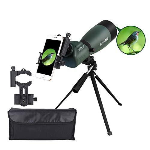 ESSLNB Telescopio Terrestre 25-75X70 Impermeable Telescopios Terrestres con Trípode Teléfono Inteligente y Bolso BAK4 Prisma para la Observación de Aves Tiro al Blanco