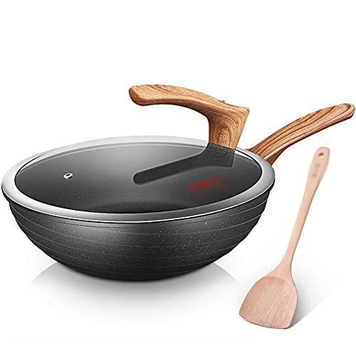 Wok con freír Planas PANTES PUSAS Pantas para Placa NO DIÁMODO DE Wok Diámetro de 30 cm Pote Compuesto Multicapa para Todo Tipo de cocinas Wok (Size : Diameter 30cm)