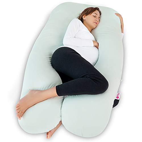 Meiz Pregnancy Pillow - U Shaped - Pregnancy Body Pillow - for Support Neck/Back/Legs with Body Pillow Cooling Jersey Cover, Green