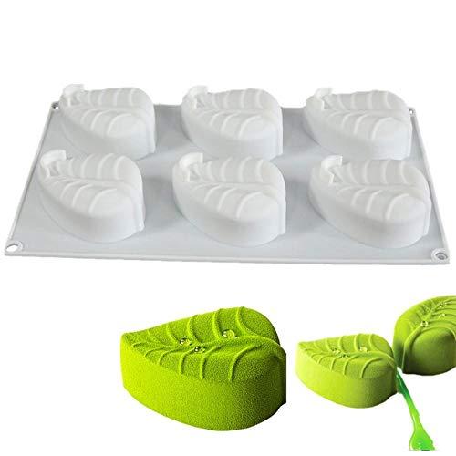 BGREN 6 Trous Feuilles Moule à gâteau Silikonform Moule Moule en Silicone pour la Cuisson Maison fête Mariage Fondant Mousse Bricolage Cuisson-Blanc