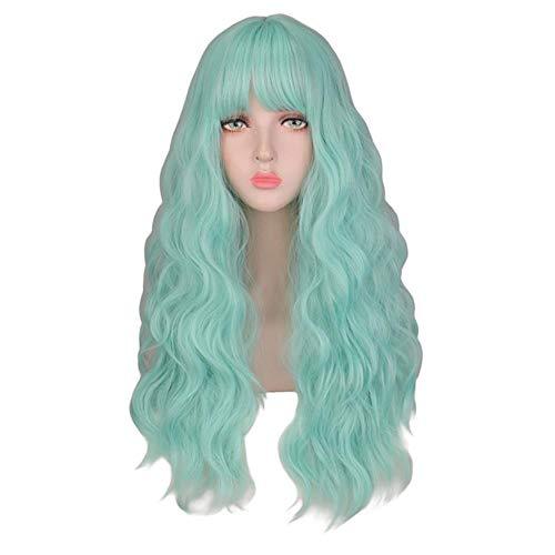 Ltong Krullende Pruiken Natuurlijke Lange Zijdeachtige NeonKleur Hittebestendige Haar Synthetische Pruik, lichtgroen, 24 inches
