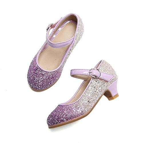 THEE BRON Dress Ballet Heels Pump Shoes for Toddler/Little Girl (8M-16 cm-6.3 inch, 908-Purple)