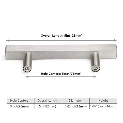 Square Kitchen Cabinet Pulls and Knobs Brushed Nickel T Bar 3in Hole Centers 10 Pack-Homdiy HDJ22SN 5in Overall Length Cupboard Handles Stainless Steel