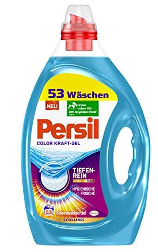 Persil Color Kraft-Gel (2 x 53 Waschladungen), Colorwaschmittel mit Tiefenrein-Plus Technologie bekämpft hartnäckigste Flecken, Flüssigwaschmittel für leuchtende Farben
