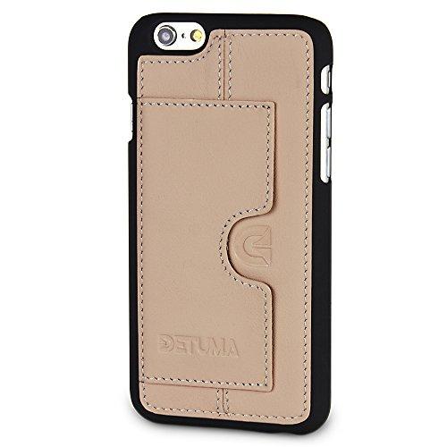 detuma Sima Carcasa para móvil iPhone 6S/6, de cuero auténtico, carcasa trasera, protectora, con tarjetero, Roys Nude (multicolor) - D003-R03-3-IP6
