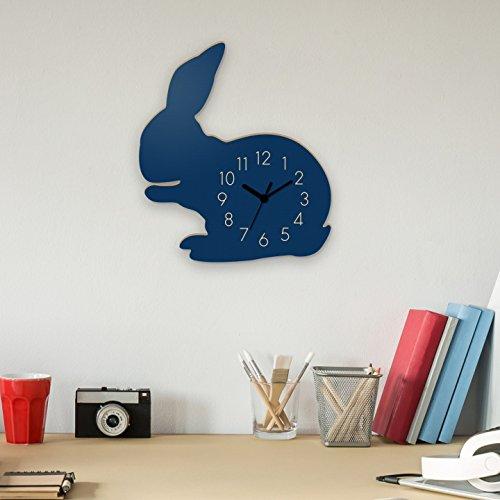 Wanduhr Hase-Blau, Kinderuhr, Uhr für Kinderzimmer