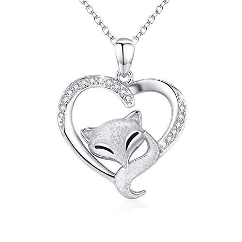 Fuchs Kette Damen Halskette 925 Sterling Silber Cute Fuchs Liebe Herz Anhänger Schmuck Halskette für Frauen Geschenk