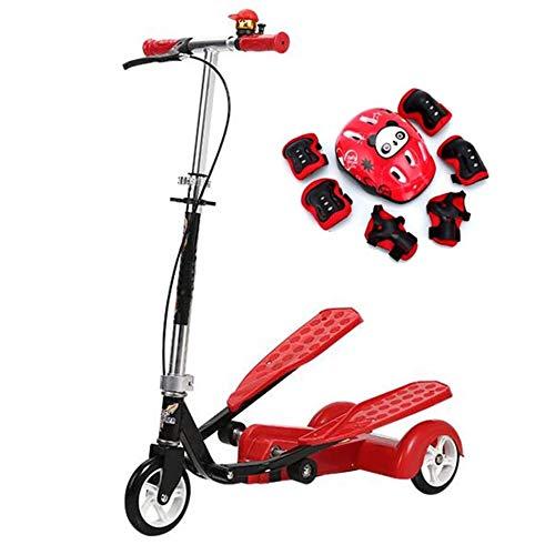 YWSZJ Scooter de 2 Pedales para niños con Freno de Mano Scooter de Doble Pedal Equipo de protección Scooter de Fitness con Ajuste de Altura (Color : A)