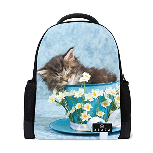 Cute Maine Coon Kitten Cat Backpack 14 Inch Laptop Daypack Bookbag for Travel College School