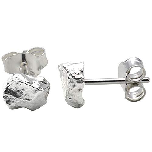 Silber Ohrstecker Nugget - hochwertige Goldschmiedearbeit aus Deutschland (Sterlingsilber 925) Damen Ohrringe Stecker schlicht zeitlos