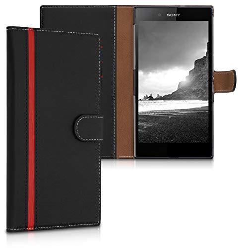 kwmobile Sony Xperia Z Ultra Hülle - Kunstleder Wallet Case für Sony Xperia Z Ultra mit Kartenfächern & Stand - Schwarz Rot