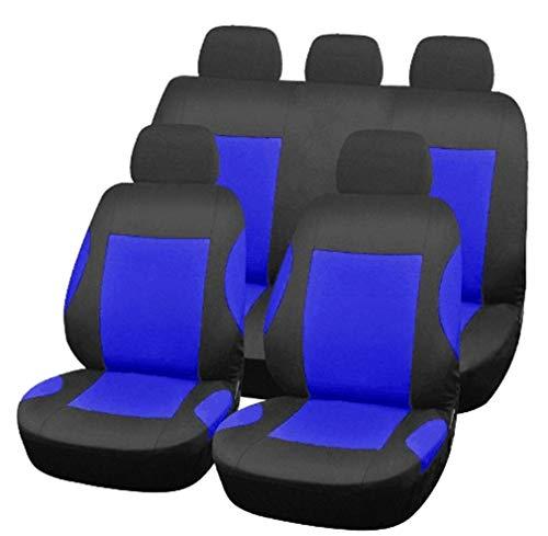 HotYou Asiento de Coche de 9 Piezas, Auto Accesorios Coche para Delanteros y Traseros Funda para Asiento Coches,Desmontable y Lavable,Azul