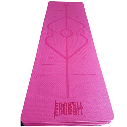 Esterilla Yoga Doble Color Antideslizante con TPE, Colchoneta Gimnasia, Fitness, Pilates, con Línea de Cuerpo, Transpirable y Resistente al Desgarro. 183 * 61 * 6 mm. (Rosa/Violeta Claro)