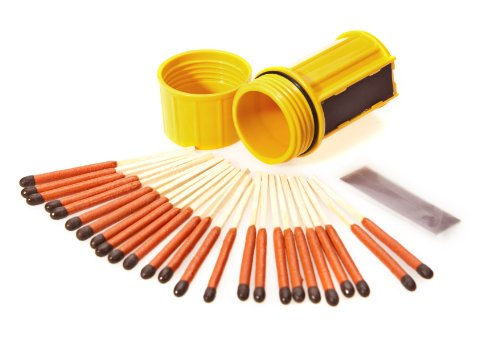 UCO Stormproof Match Kit with Waterproof Case, 25 Stormproof Matches and 3 Strikers - Yellow