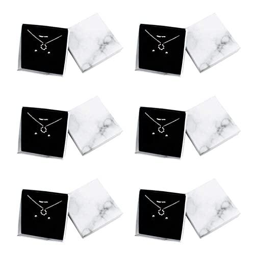 6 PCS Caja de joyería Cajas de cartón Joyas Organizador Cuadrado Pantalla de Regalo con Tapa de mármol Blanco para Anillos Collares Colgantes Pulseras Aniversarios Bodas o Cumpleaños TINGG