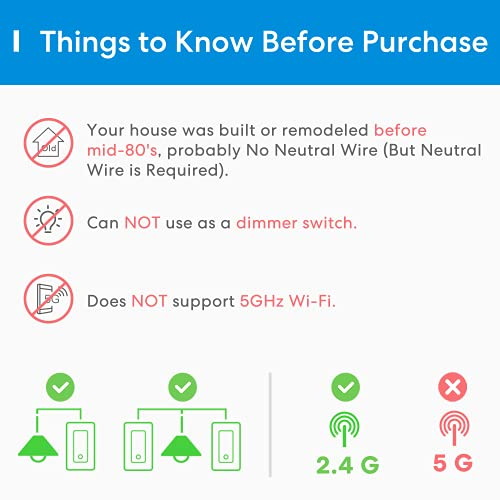 3 Way Smart Switch, meross Smart Light Switch Supports Apple Homekit, Siri, Alexa, Google Assistant & SmartThings, 2.4Ghz WiFi Light Switch Neutral Wire Required, Remote Control Schedule