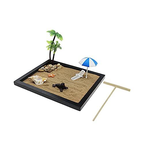 OMVOVSO Micro Paesaggio da Spiaggia, Decorazione in Miniatura Mini Lounge, Decorazioni Mini Spiaggia, Resina Decorazione Vacanza Ufficio, Semplice Artigianato in Miniatura,Marrone