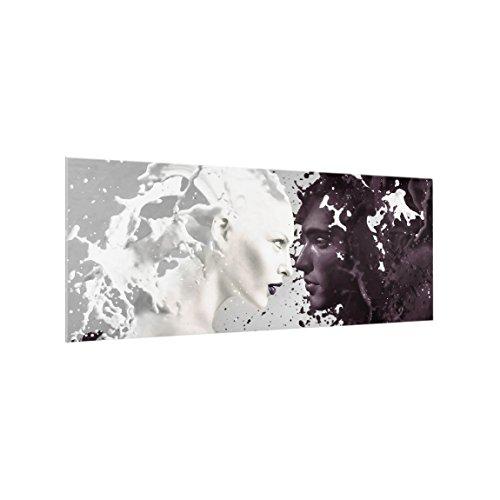 Bilderwelten Paraschizzi in Vetro - Milk & Coffee - Panoramico, Paraschizzi Cucina Pannello paraschizzi Cucina paraspruzzi per Piano Cottura Pannello per Parete Cucina, Misura (AxL): 40cm x 100cm