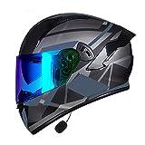NBMNN Casco Integrale,Caschi Bluetooth Flip up Full Face Modulare per Moto Casco da Motocross,con Anti-Appannamento Doppia Visiera Casco,Approvato DOT D,XXXL=64~65CM
