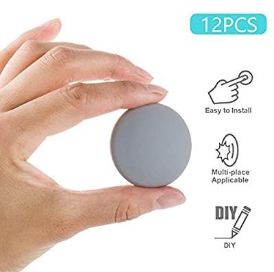 12 PCS Door Stopper Wall Protector, 1.57 Inch Premium Quality Soft Rubber Door Knob Wall Shield Door Bumper Self Adhesive 3M Sticker Strong Stickiness Wall Protector (Round,White)