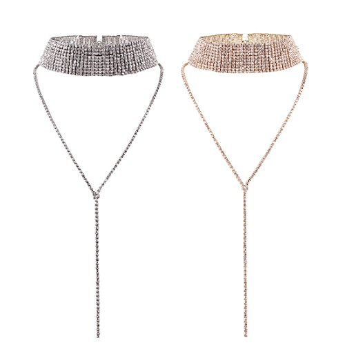 Tpocean 2pcs Women Ladies Fashion Multi-Row Crystal Choker Necklace Set Full Rhinestone Sweater Necklace Y-Shape Long Chain Pendant Wedding Prom Party Jewelry(Silver and Rose Gold)