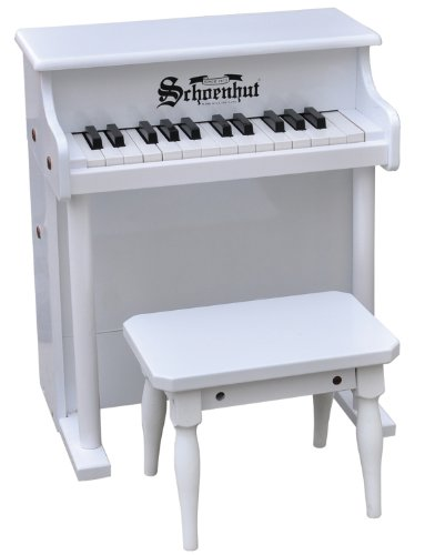 Schoenhut White 25 Key Traditional Spinet with Bench