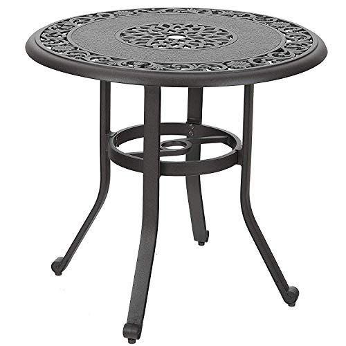 "MFSTUDIO 32"" Outdoor Furniture Patio Bistro Table, Dining Coffee Tea Small Round Side End Tables for Garden, Backyard, Cast Aluminum with 1.97"" Umbrella Hole, Dark Brown"