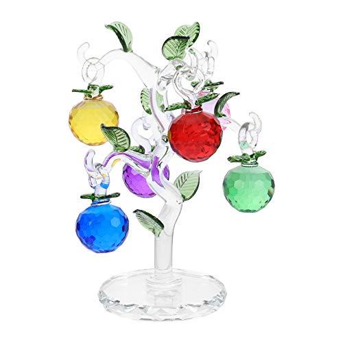 VOSAREA Árbol de Cristal con 6 Manzanas Chakra Cristales Curativos Árbol de La Suerte Feng Shui Piedras Preciosas Dinero Árbol de La Fortuna Bonsai Árbol para La Decoración de La Oficina