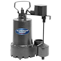 1/3 HP Sump pump moves up to 2,760 gallons per hour; pump will lift water up to 25' of vertical height Rugged cast iron construction; 10-foot cord length Vertical float switch to automatically turn the pump on/off. Switch on and off point is 6 and 2 ...