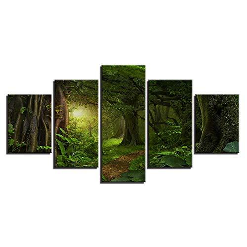 JZGDH Imagen De Paisaje Impresión HD En Lienzo Decorado 5 Piezas Verde Bosque Luz Solar Arte De La Pintura para La Pared De La Sala De Estar 200X100CM